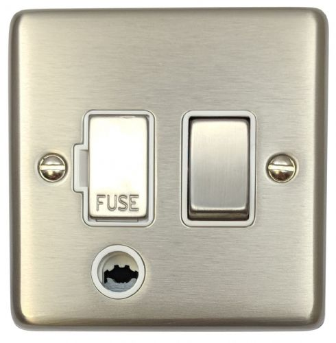 G&H CSS256 Standard Plate Brushed Steel 1 Gang Fused Spur 13A Switched & Flex Outlet